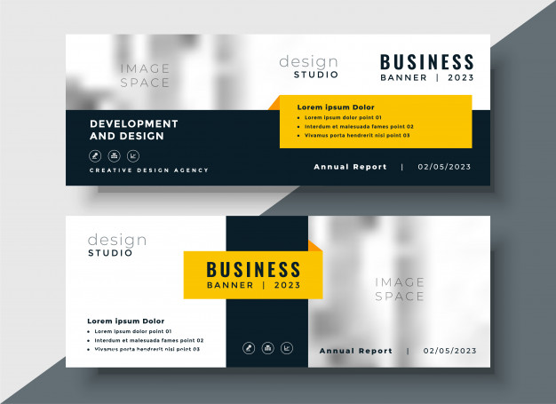 Elegant Yellow Web Banner PSD Design