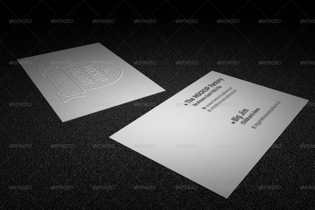 Embossed White Color Two Business Card
