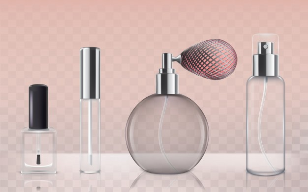 Empty and Round Perfume Bottle Vector File: