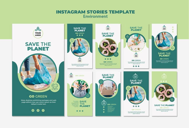 Environment instagram stories template mock-up Free Psd