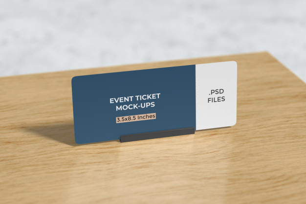 Event ticket mockup on the table Premium Psd