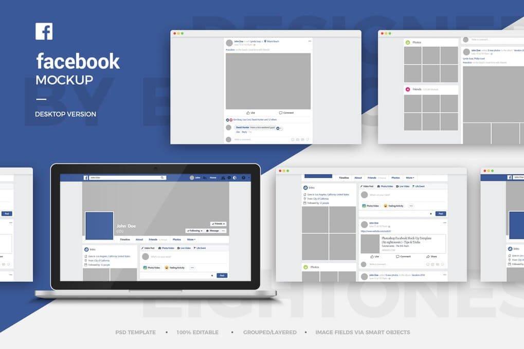 Facebook Open On Desktop Screen Template