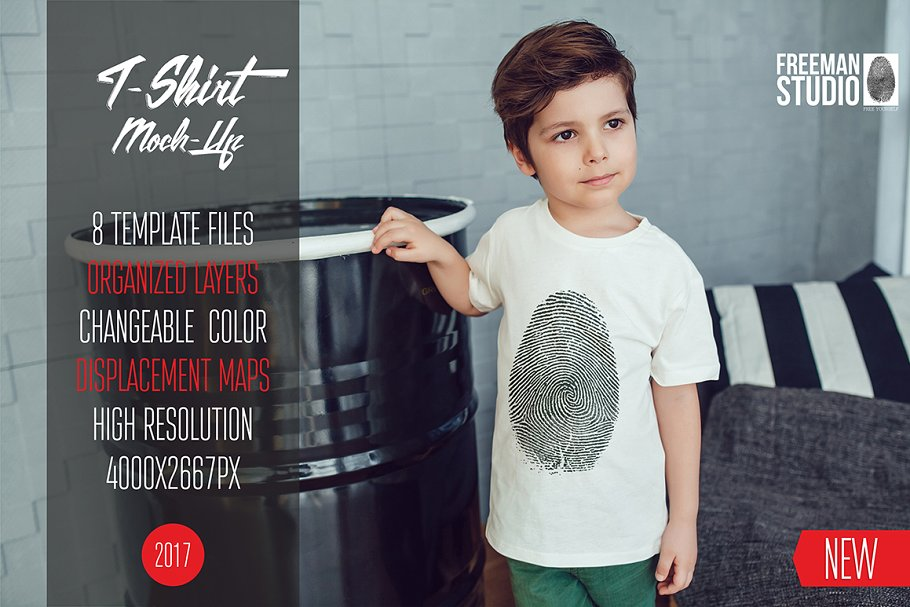 Finger Printed T-shirt Wearing By A Kid PSD Mockup.