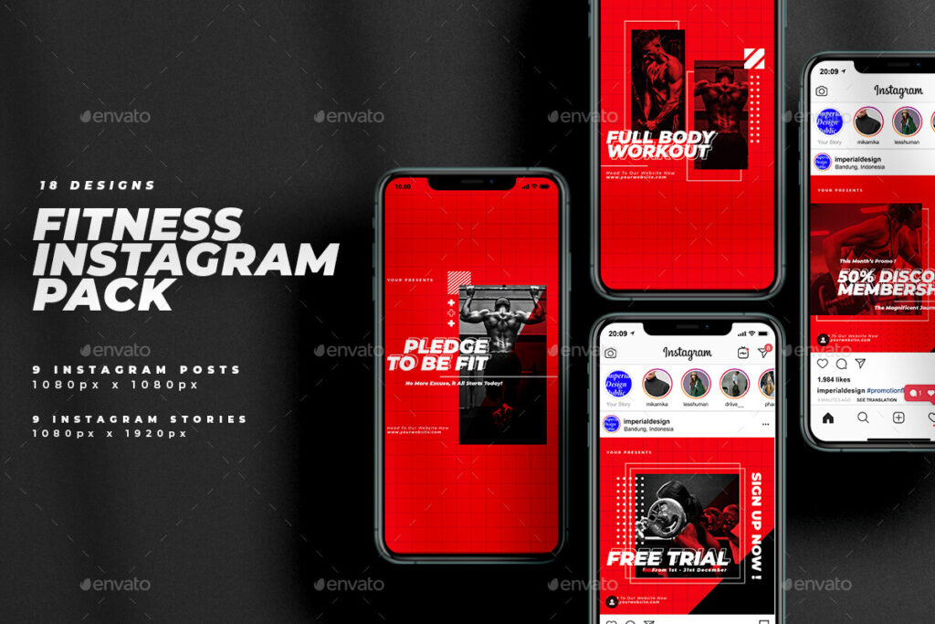 Fitness Instagram Post Stories Pack