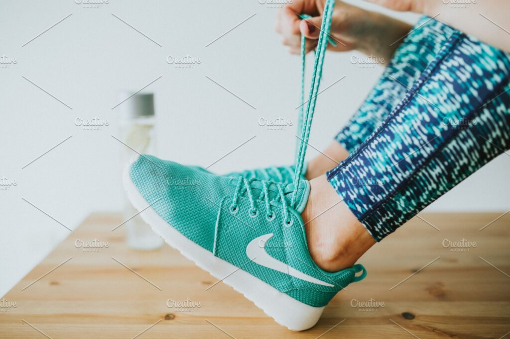 Fitness Lifestyle In A Green Shoe Mockup