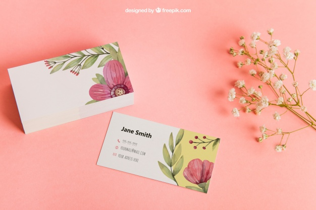 Floral Background Business Card Mockup