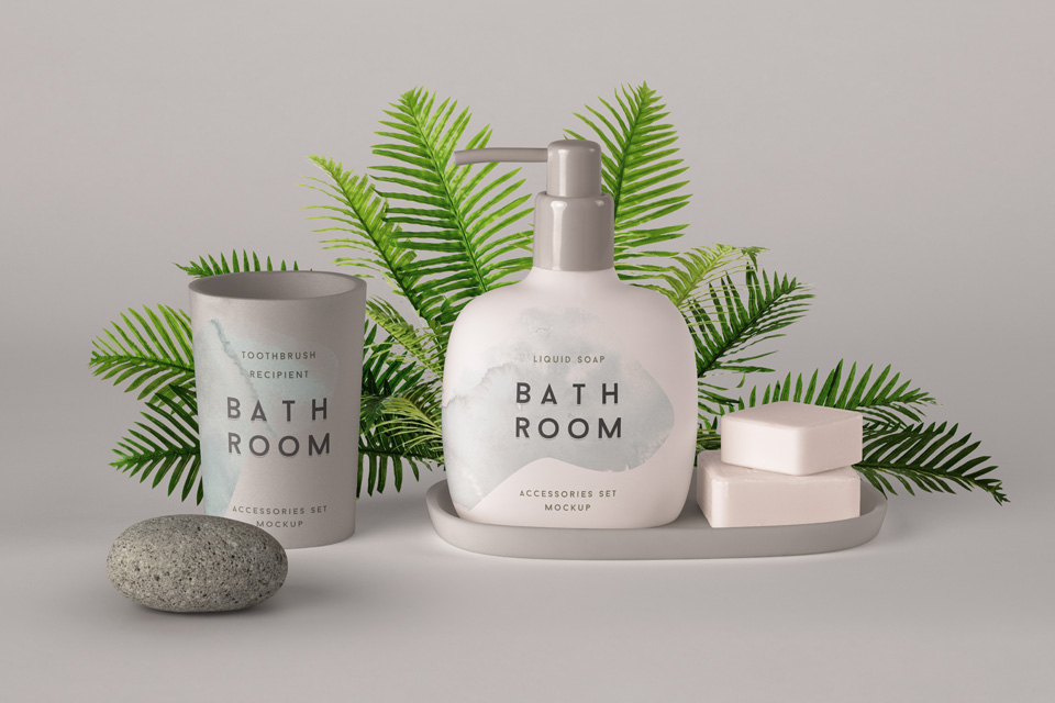 Floral Background Shampoo Bottle Mockup