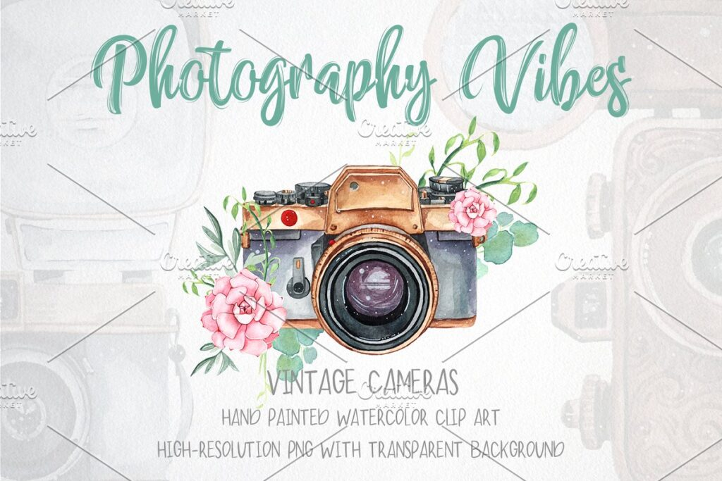 Floral Design Printed Mini Camera Illustration