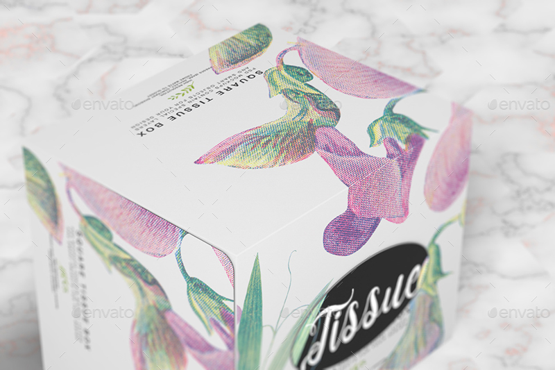 Floral Print Paper Tissue Box PSD Template