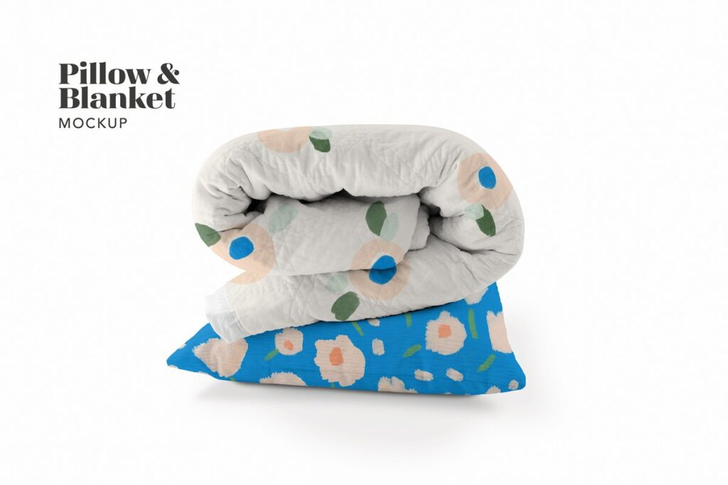Foldable Blanket And Pillow PSD Template.