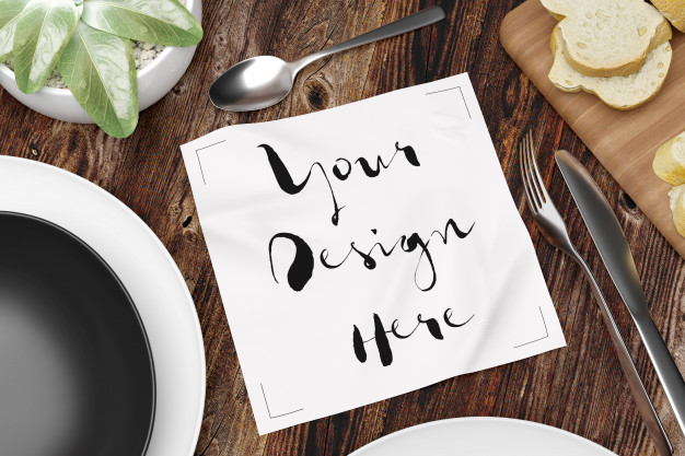 Food table scene mockup with Table Tissue paper