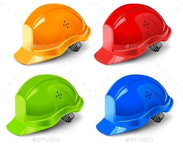 Four Different Color Hard Helmet Illustration