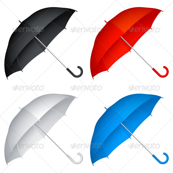 Four Umbrella In Different Colors Vector.
