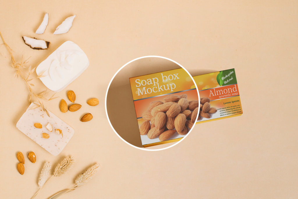 Free Almond Soap Packaging Box PSD