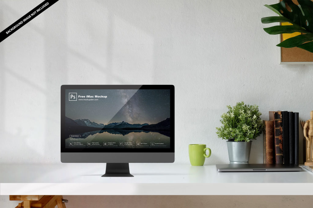 Free Floating Transparent iMac Scene Mockup
