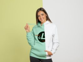 Free Front view of woman wearing hoodie Mockup PSD Template