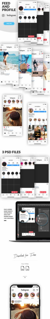 Free Instagram Feed and Profile Mockup PSD Template