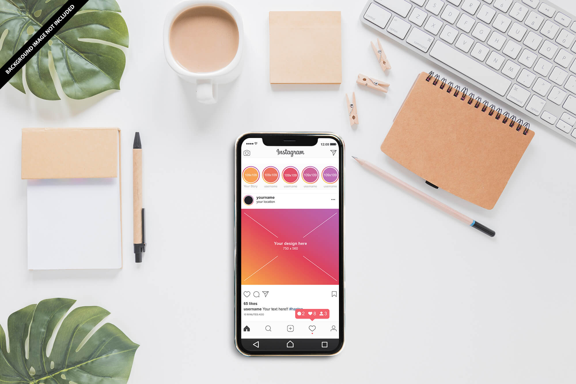 Free Instagram Profile On Mobile Mockup PSD Template