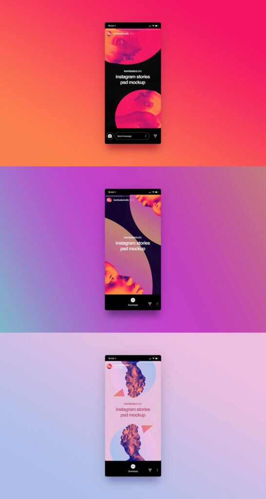 Free Instagram Stories Mockup PSD Template