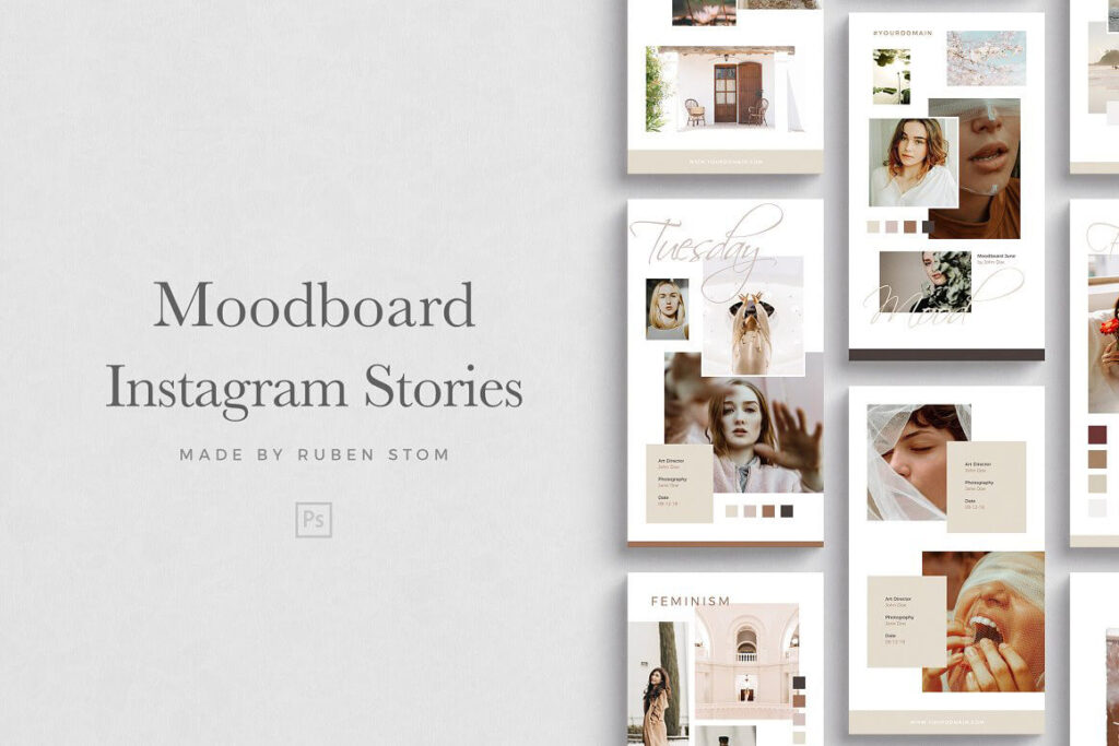 Free Moodboard for Instagram Stories Mockup PSD Template