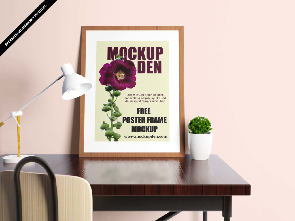 Free Portrait Poster On Study Table Mockup