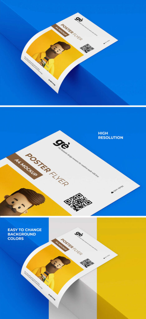 Free Single A4 Flyer Mockup PSD Template