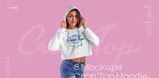Free Women Crop Top Hoodie Mockup PSD Template