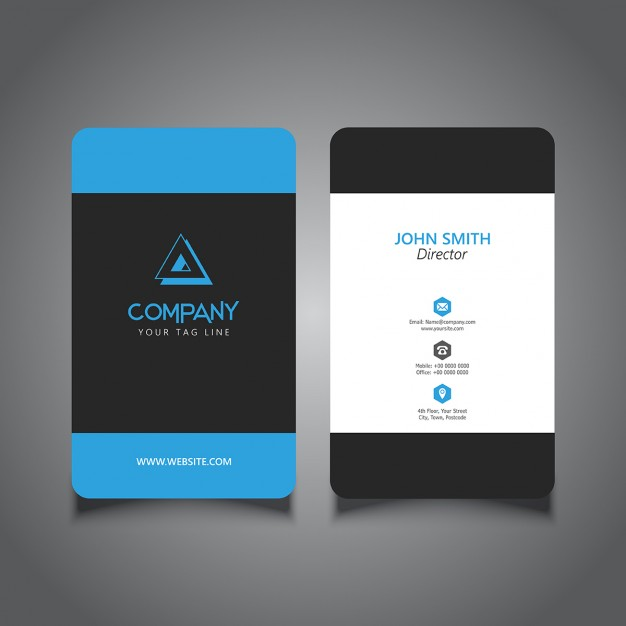 Front And Back View Of Blue And Black Color Theme Vertical Business Card