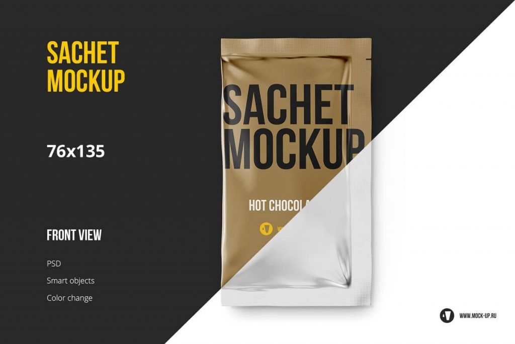 Front View Of A Sachet Mockup