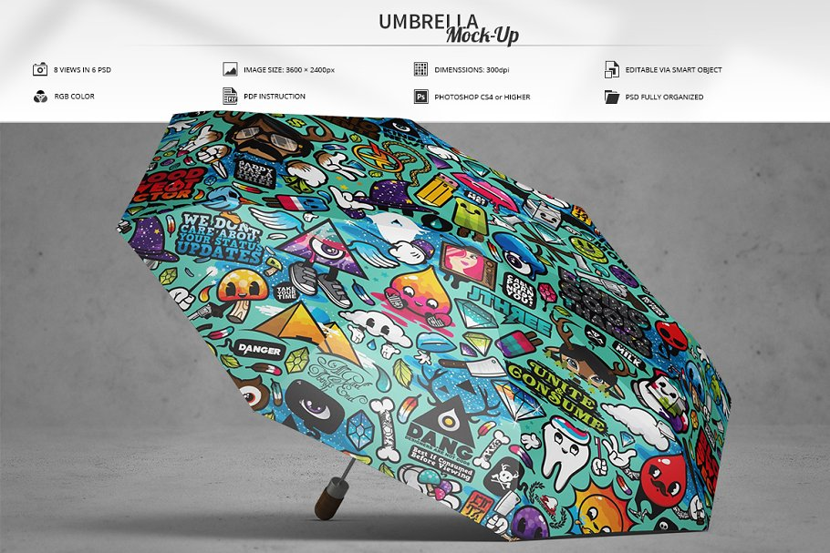 Full Designed Umbrella PSD Mockup.