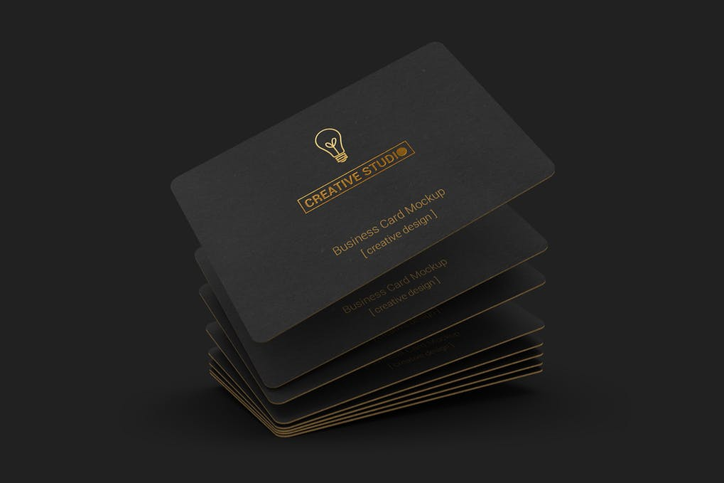 Fully Black Business Card With Attractive Golden Print Round Corner