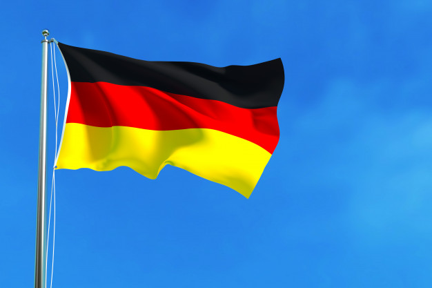 Germany Flag In A Blue Background Mockup.