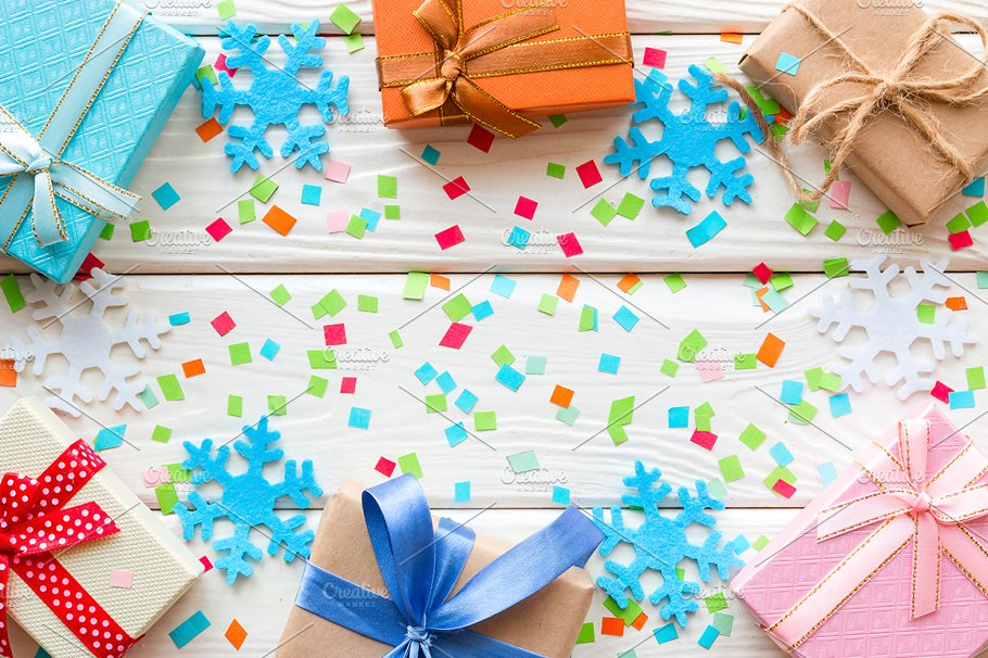 Gifts beautifully wrapped Mockup