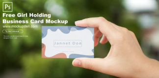 Free Girl Holding Business Card Mockup PSD Template