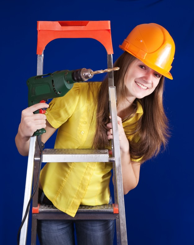 Girl With Drill Machine And Hard Hat Mockup