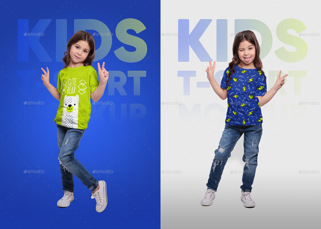 Girls In Realistic Kids T-Shirt Mockup PSD