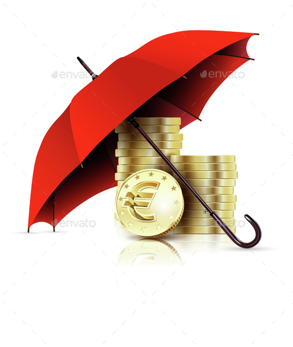 Gold Coins Under A Red Colored Umbrella Mockup.
