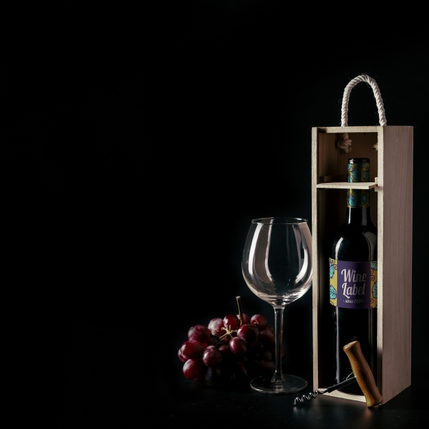 Grape Wine Box With Glass Design Template