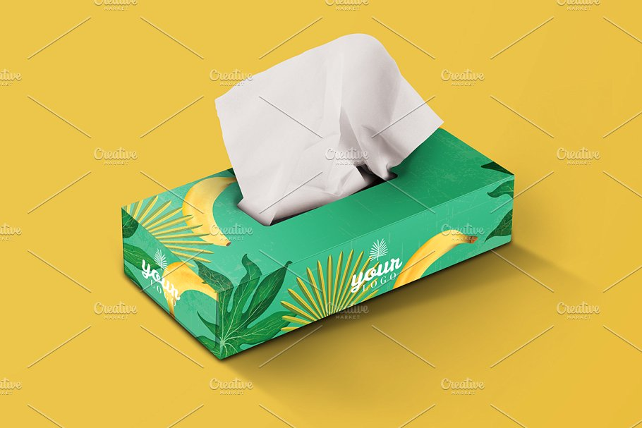 Green Color Floral Print Tissue Box Design PSD With Yellow Background