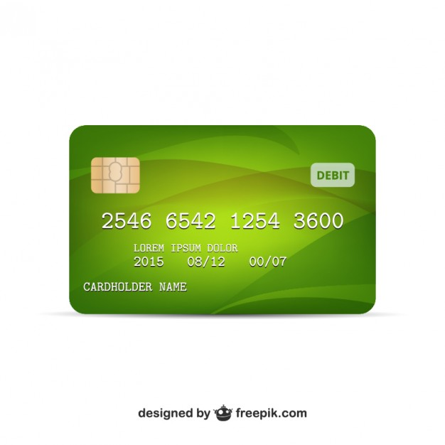 Green Colored Credit Card Vector.