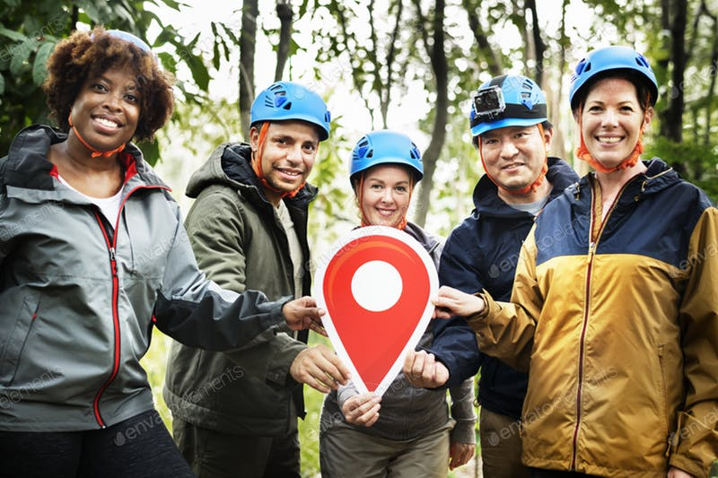 Group On Trecking With Blue Helmet On Head