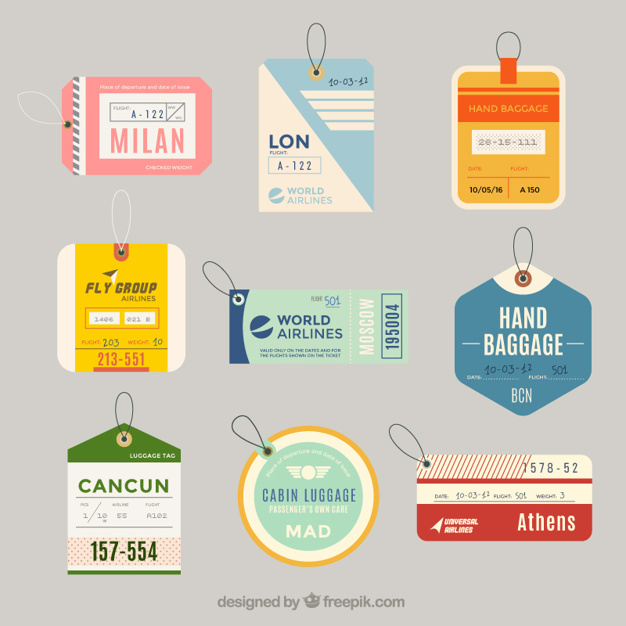 Hand Baggage Tag Vector File Illustration