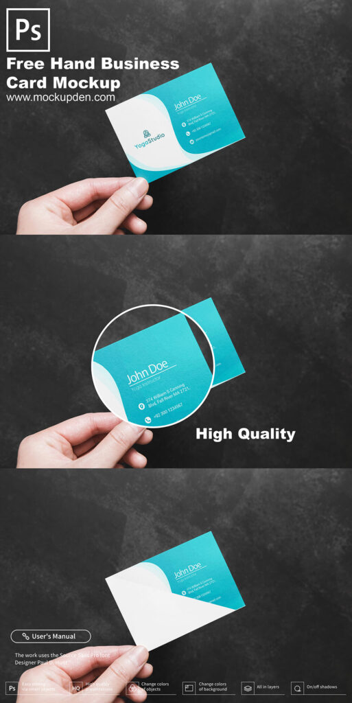 Free Hand Holding Business Card Mockup PSD Template