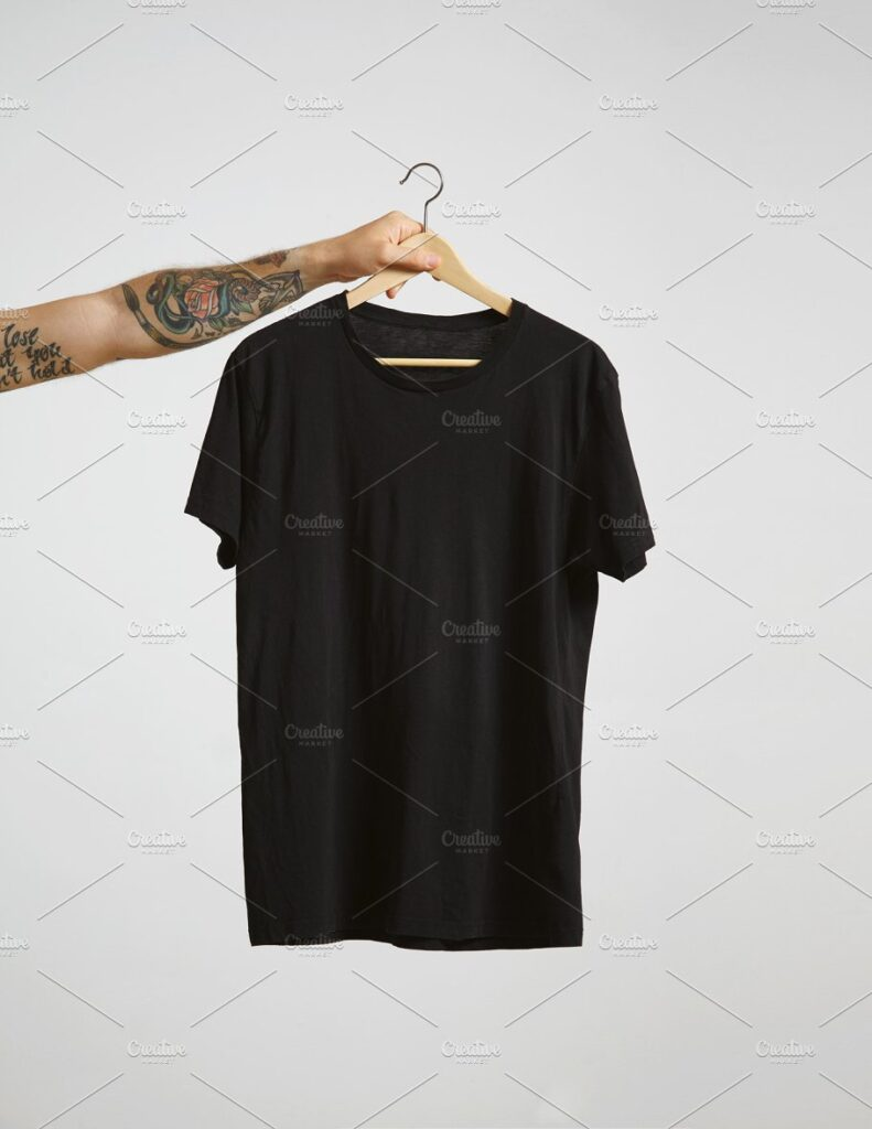 Hand Carrying Black T-Shirt in PSD