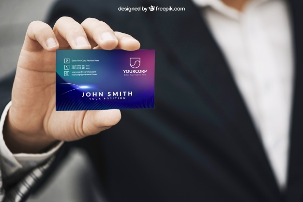 Hand Held Business Card Design Mockup