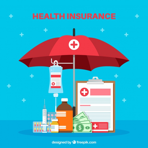 Health Complements Under A Red Colored Umbrella Vector.