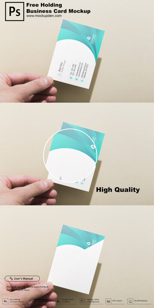 Free Holding Business Card Mockup PSD Template