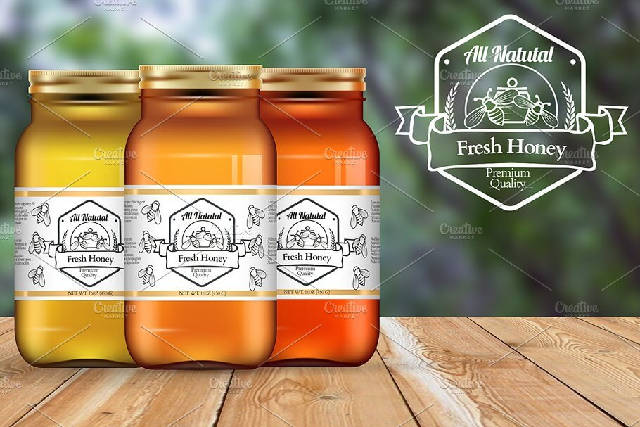 Honey Bottles Mockup