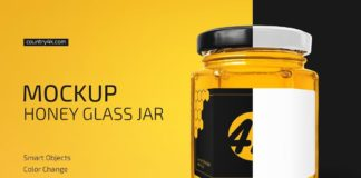 Honey Glass Jar Mockup