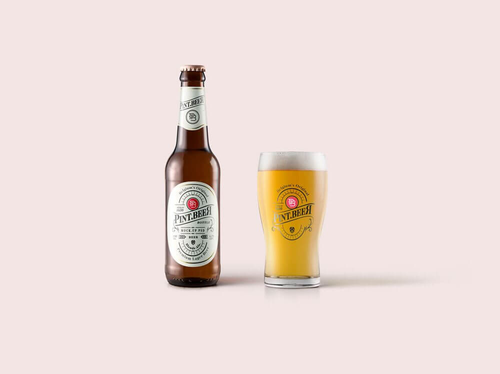 Ideal Beer Bottle and Glass Mockup: